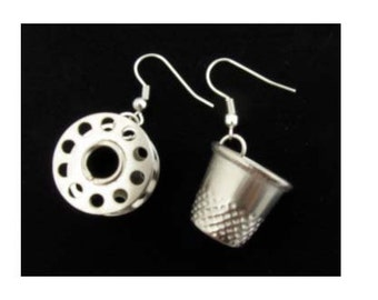 Tailor Sewing Supplies Earrings Thimble and Coil Sewing Kit Miniblings upcycled Bobbin