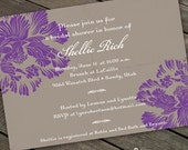 hyacinth and slate bridal shower, purple and gray party invitation, purple floral party, purple and gray bridal shower, purple grad, IN155