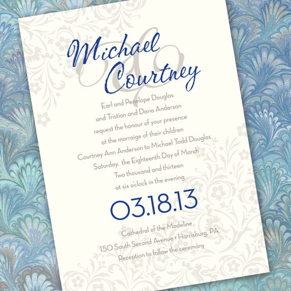 Wedding Invitations Save The Date Cobalt And Silver Bridal