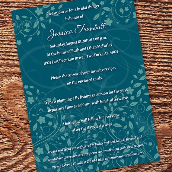 bridal shower invitation, teal bridal shower invitations, wedding invitations, teal wedding shower invitations, recipe cards