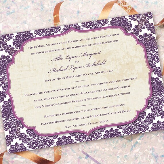 wedding invitations, plum wedding invitations, purple and ivory bridal shower invitations, eggplant and ivory wedding invitatiions