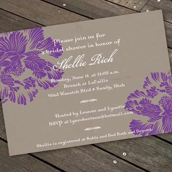 bridal shower invitations, purple and silver wedding shower invitations, hyacinth and slate bridal shower invitations, purple grad, IN155