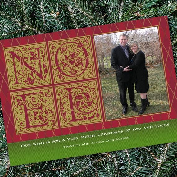 Christmas cards, Noel Christmas card, red and gold holiday card, argyle photo Christmas card, red and green Christmas, CC047