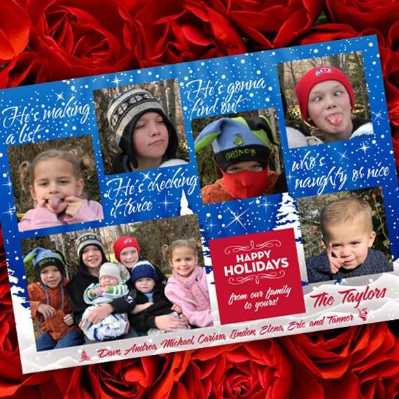 Christmas cards, Makin' a List Christmas card, naughty or nice photo card, 6 photo card, snowflake Christmas card, blue Christmas card CC046