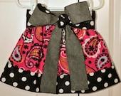 Pink Paisley Corduroy Big Bow Skirt SIZES 6/12m-8 Girls