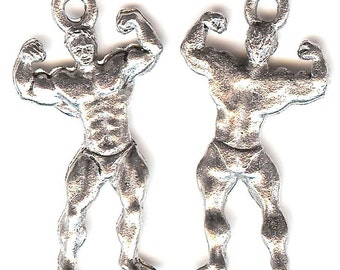WEIGHT LIFTER Charm. Pewter. Two Sided Body Builder. Weight Training. Made in the USA.