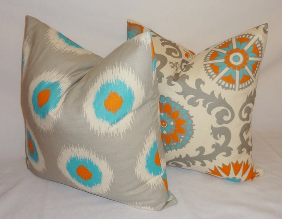 two turquoise blue grey orange pillow cover by homeliving on etsy. Black Bedroom Furniture Sets. Home Design Ideas