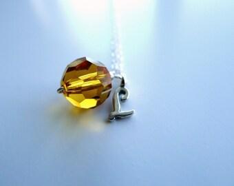 November Birthstone Personalized Alphabet Initial Script Letter Topaz Swarovski Silver Necklace, Yellow Crystal Bridesmaid Flowergirl Chain