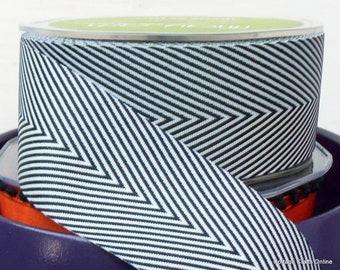 "Black Chevron Twill Tape, 1 1/2"" wide Striped Ribbon - THREE YARDS - May Arts - Halloween / Cardmaking / Decor / Packaging / Craft Ribbon"