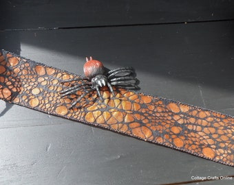 "Halloween Wired Ribbon, 4"" wide, Black Spider Web Flocked on Orange Sheer - THREE YARDS - Reliant ""Webville"" #604 Wire Edged Ribbon"
