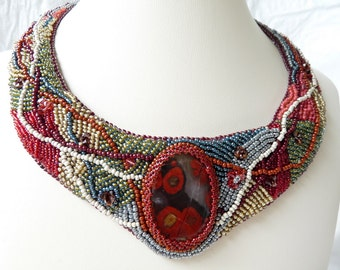 Bead Embroidered Collar Necklace by Tropicalkaren IS it PLAID YET?