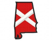 State of Alabama with Flag inside - Machine Embroidery - 8 Sizes