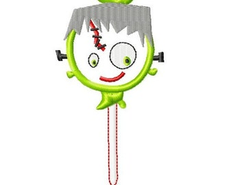Halloween Lollipop - Frankenstein - Applique - Machine Embroidery Design - 5 Sizes