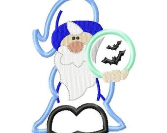Wizard with Crystal Ball - Applique - Machine Embroidery Design - 4 Sizes