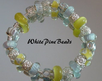 European Style  Charm Bracelet Yellow and Lt. Blue Made with Lampwork Murano Glass Beads
