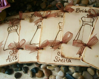 Personalized Bridesmaid Gifts SET of 9 Journals Scrapbooks for your Bridal Party Engraved with THEIR Dress and Name Custom Gifts