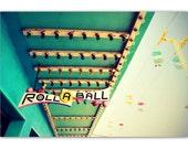 mid century modern, mid century boardwalk game, santa cruz, sign, lights, pink, blue green - Roll-a-Ball, 8x12 photograph print