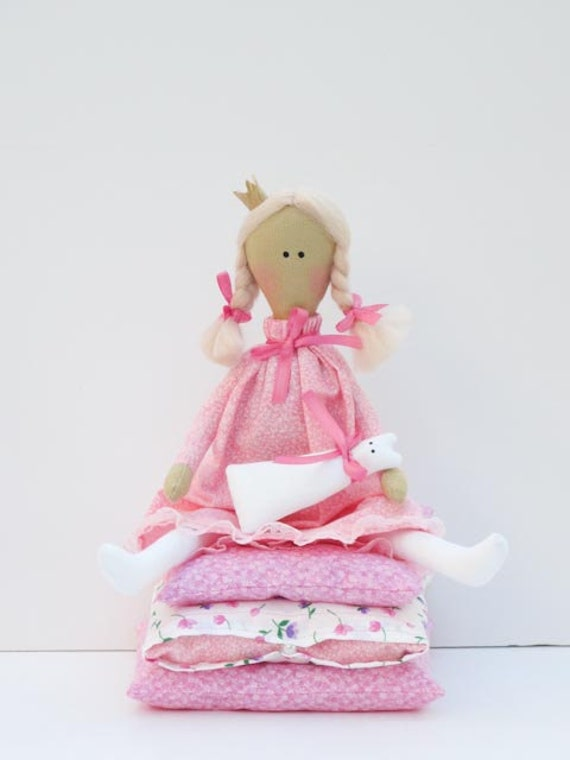 Princess and the Pea -lovely fairy tale fabric doll blonde in pink dress with a kitty Handmade cloth doll,stuffed doll- gift for girl