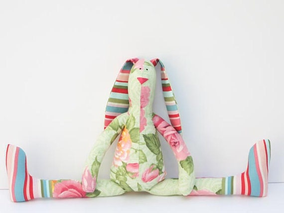Custom order for Jacqui- floral and polka dot stuffed bunny,lovely bunny rabbit hare