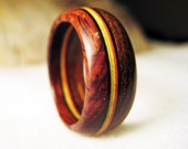 Rasta Wood Ring - Wooden Band Ring With Rasta Colors