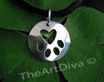 "Sterling Silver Necklace - Animal Tag - Paw Print Necklace Pendant Charm in Sterling Silver 'Heart in a Paw"" Pendant Charm"