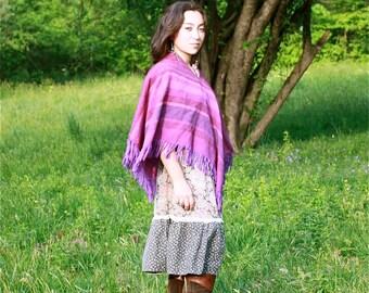 Vintage Purple striped Poncho