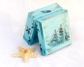 Blue box, Jewelry Keepsake Trinket Box, Sea Treasury Pirate Wooden Box, Treasury  Box ,  Jewelry box , ohtteam