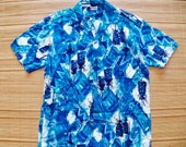 Mens Vintage 60s Pa'ani Blue Hawaii Hawaiian Tiki Surf Shirt - M - The Hana Shirt Co