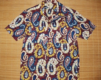 Mens Vintage 60s Hawaiian M Shirt Japan Batik Paisley Surfer Tiki Shirt - S - The Hana Shirt Co