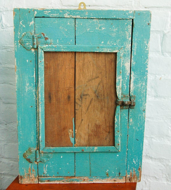 RESERVED for Maura through 9-5-12 Vintage Cupboard Primitive Handmade Cabinet With Original Turquoise Paint