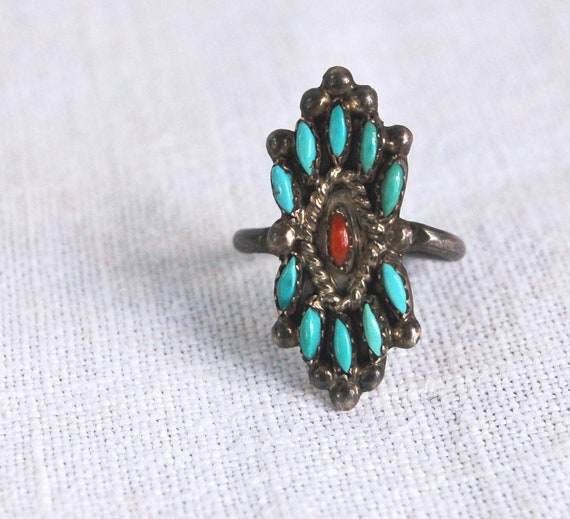 Vintage Zuni Ring Needlepoint Turquoise and Red Coral