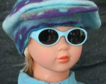 """Casquette enfant feutre bleu et violet - """"Little Morgan"""""""