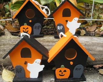 SALE: Set of 4 Halloween Houses. Halloween Decoration. Ghosts, Pumpkins, Tombstones. Orange & Black Halloween Decoration.