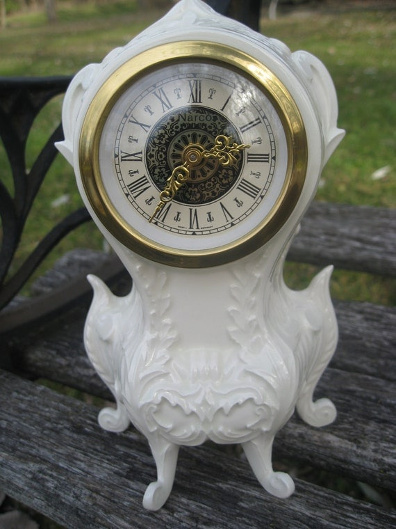 Vintage German Mantle Clock Antique White By Treetownpaper