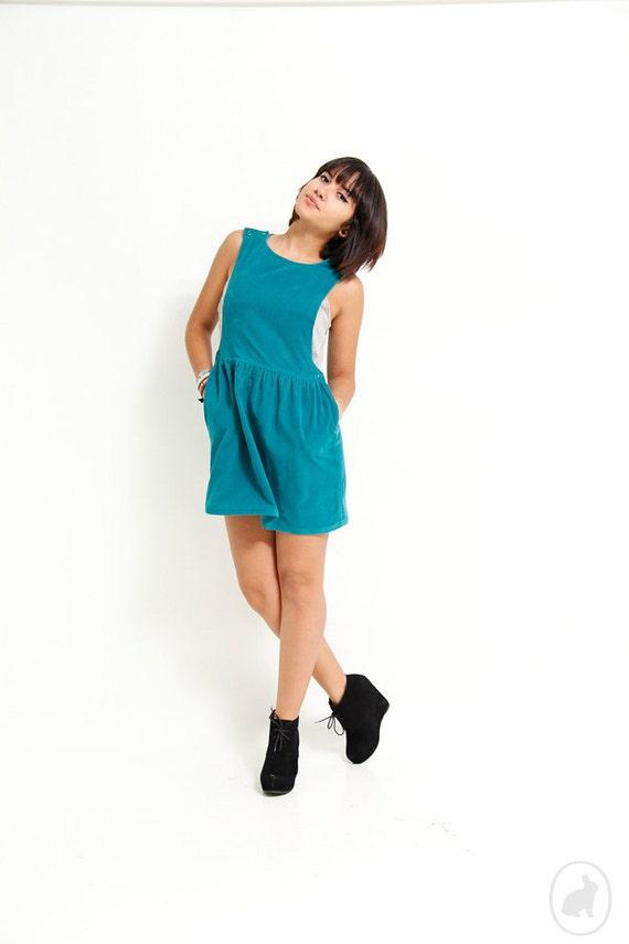 Vintage 80s Teal Green Corduroy Jumper - Mini Dress - Small
