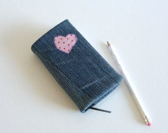 2016 denim diary - day to a page - pink polka dot heart - recycled fabric cover - journal