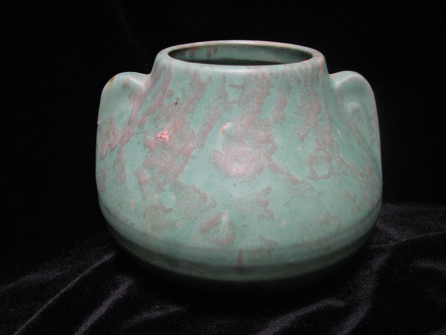 Arts and crafts pottery vase organic matte green glaze art for Arts and crafts pottery