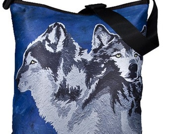 Wolf Large Bucket Handbag by Salvador Kitti -  From my Original Oil Painting, Spirited  Pack