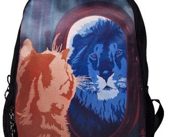 Cat Lion Backpack by Salvador Kitti - From My Original Painting, Salvador's Reflection