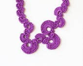 Purple crochet necklace Abstract geometric jewelry Statement fiber necklace