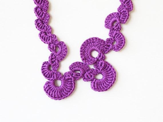 Purple crochet necklace Abstract geometric jewelry Statement fiber necklace