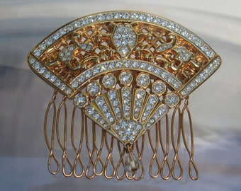 Vintage Golden Bridal Crystal Hair Comb/Brooch, Bridal Wedding Jewelry