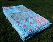 PRICE DROP Christmas, Winter Pink and Blue Polar Bear Large Flannel Rag Quilt