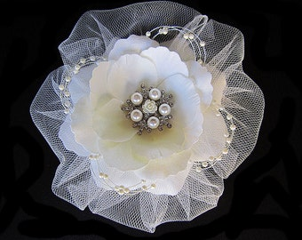 Tiffany - Bridal Gardenia Ivory Flower Hair Clip Fascinator With Pearls and Rhinestones