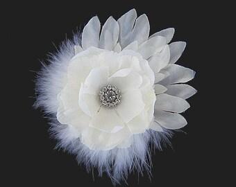 Mary - Bridal Light Ivory Flower Hair Clip Fascinator Rhinestone feathers