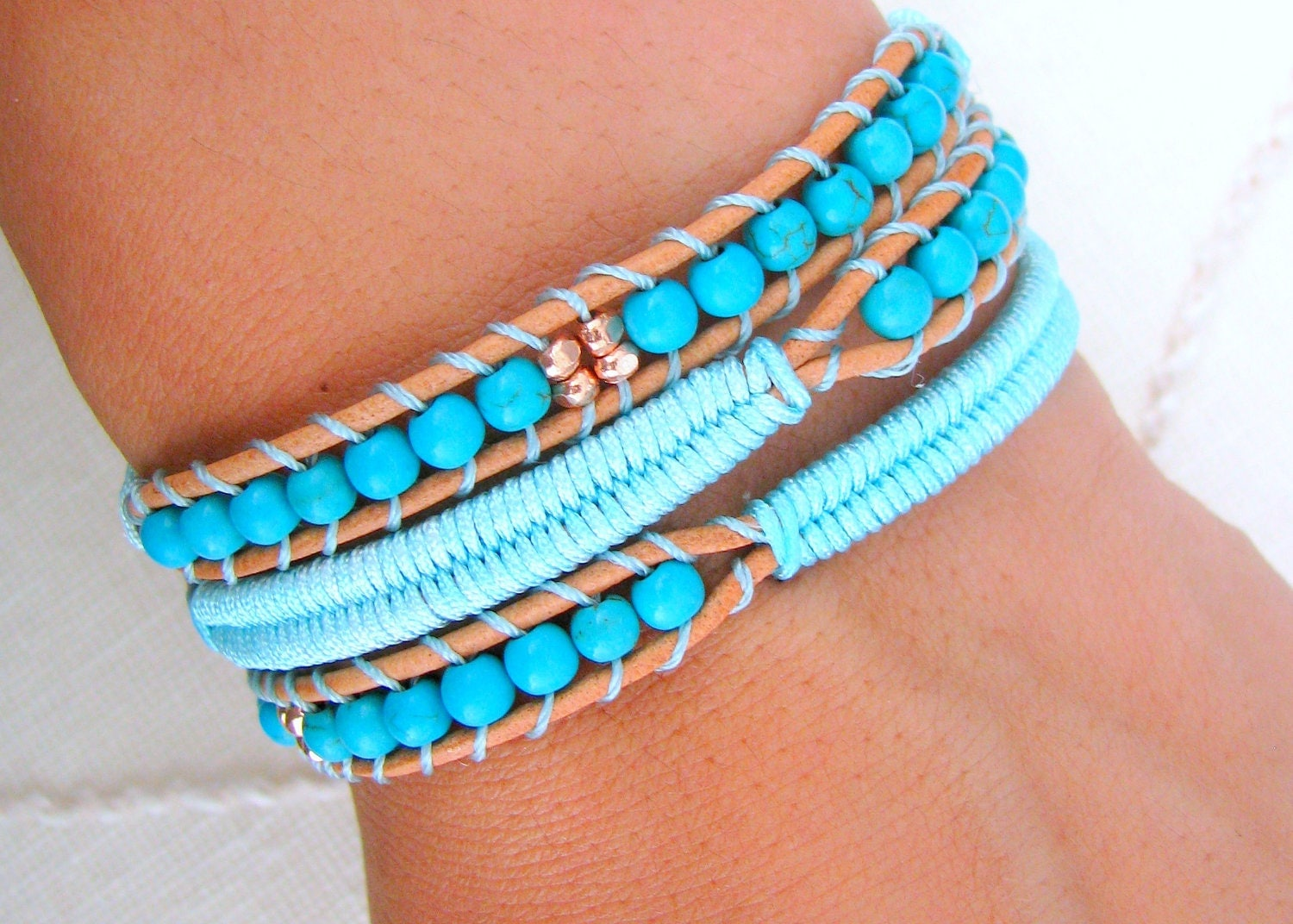 beaded leather wrap bracelet with brown leather turquoise. Black Bedroom Furniture Sets. Home Design Ideas