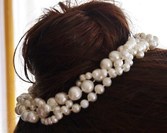 pearl hair wreath - ivory white freshwater pearls plaited bridal wedding hair garland with gold comb