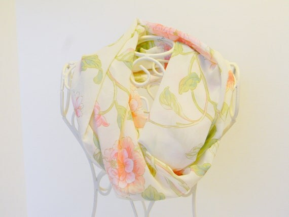 Creamy Floral Chiffon Inifinity Scarf, Free Shipping (itm113)