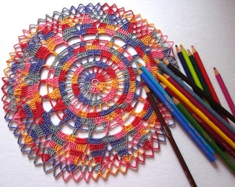 New Handmade Crocheted Bright Colorful Country-Chic Doily