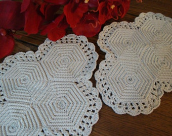 Hand Crocheted Doilies Set of Two Vintage